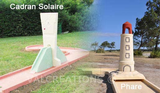 Mini golf - Phare et Cadran Solaire: grands obstacles mini-golf