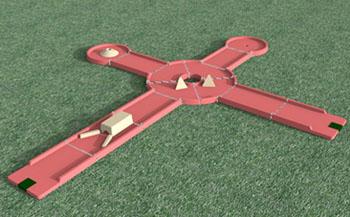 créer un minigolf : 2 pistes avec un rond point
