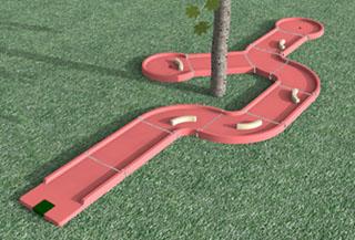créer un minigolf : piste de minigolf contournant un arbre
